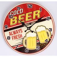 Falióra üveges kerek cold beer 30cm 203359